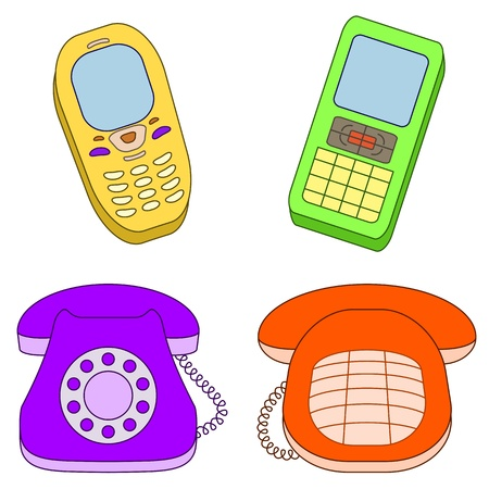 telephone cartoon: Vector, set various phones, mobile and desktop, isolated on white