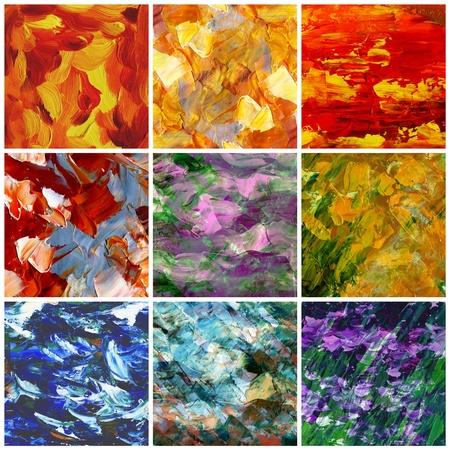 Foto, olieverf: set abstracte achtergronden, met de hand schilderijen Stockfoto