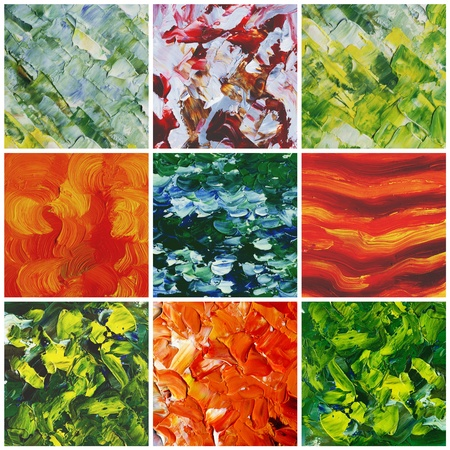 Picture, oil paints: set abstract backgrounds, hand paintings photo