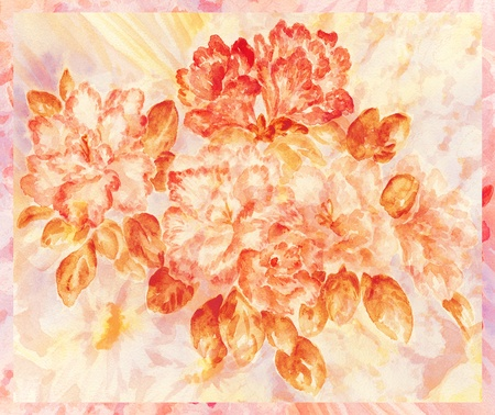 Flowers and leaves azalea, hand-draw, painting a water colour on a paper Stock Photo - 10133229