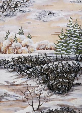 distemper: Handmade, drawing distemper on a birch bark: winter siberian landscape