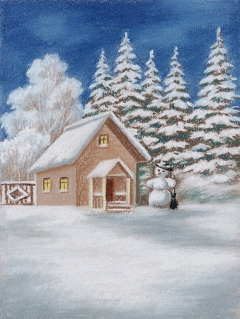 House in winter Forest and snowman. Picture, pastel, hand-draw on paper photo