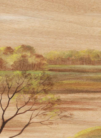 Picture, landscape, hand-draw, distemper painting on wood veneer anegry photo