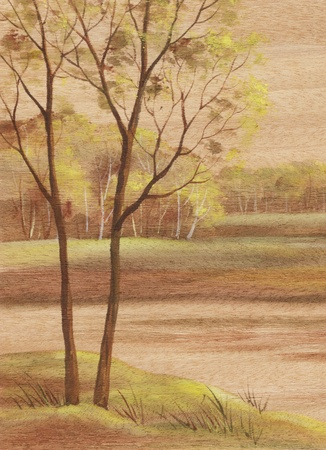 distemper: Picture, landscape, hand-draw, distemper painting on wood veneer anegry Stock Photo