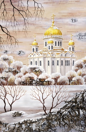 distemper: Picture, handmade, drawing distemper on a birch bark: the cathedral of the Christ of the Savior, Russia, Moscow Stock Photo