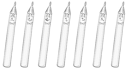 Set smilies pencils symbolize various human emotions, contours.  Vector