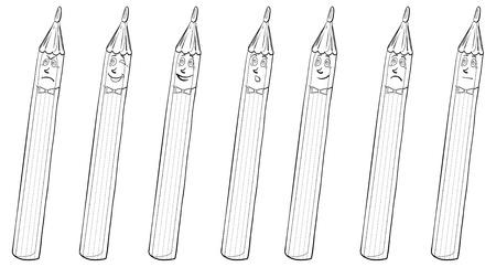 phlegmatic: Set smilies pencils symbolize various human emotions, contours.