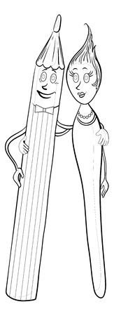 Cartoon, man pencil and woman brush, contours.  Vector