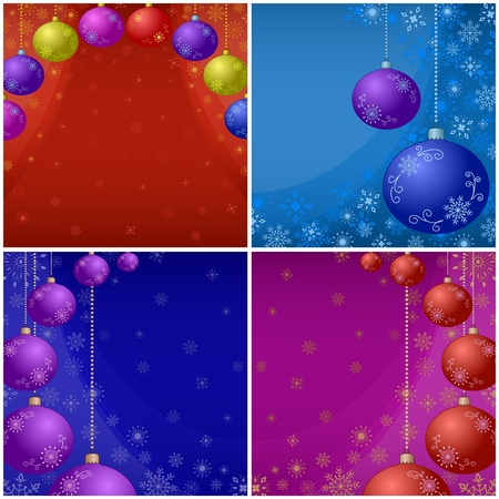 Set Christmas backgrounds with glass balls and snowflakes. Vector