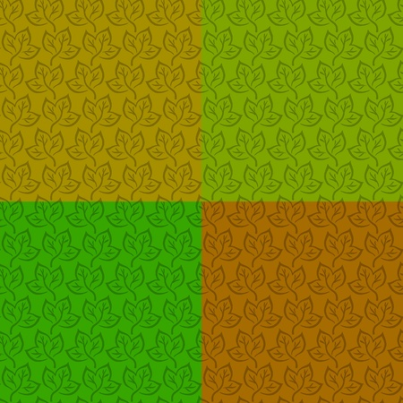Set green and brown seamless backgrounds with symbolical leaves. Vector Stock Vector - 11541979