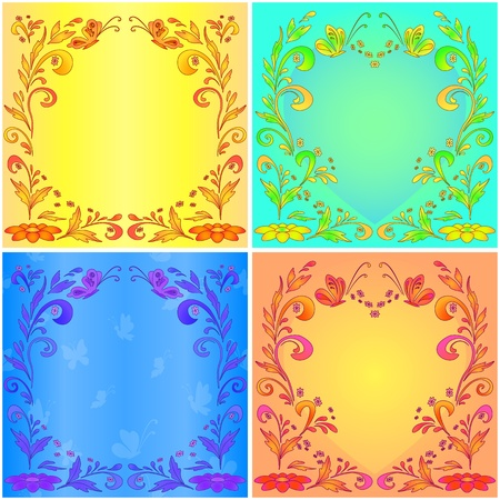 Set abstract background with flowers and butterflies. Vector Vector