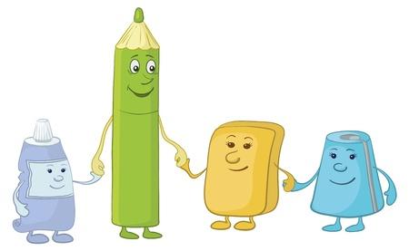 sacapuntas: Dibujos animados, con lápiz y artículos de papelería los niños: tubo, borrador, sacapuntas. Vector