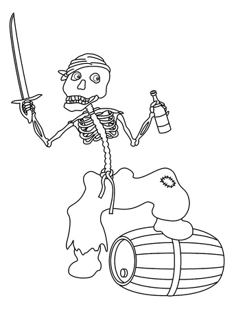 drunkard: Evil zombie pirate jolly skeleton with a sword, a bottle of wine and a barrel, contours. Vector