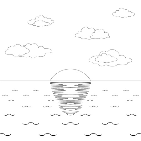 Background, natural landscape: sky, sea and sun, contours. Vector Vector