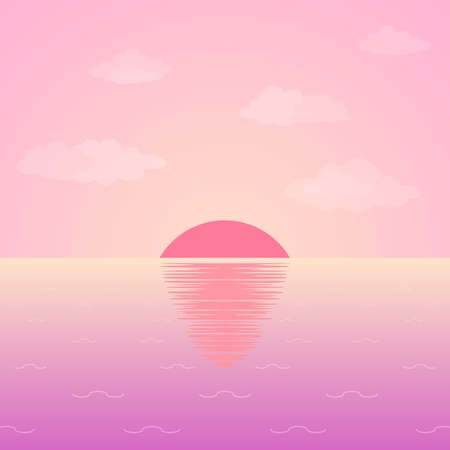 sunrise beach: Background, natural landscape: pink morning sky, sea and sun. Vector Stock Photo