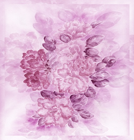 florescence: Artistic background, flowers and leaves azalea, hand-draw, painting a water colour on a paper