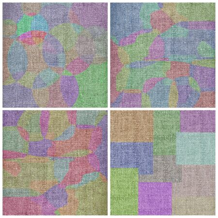 Set backgrounds: various rectangles, circles and abstract figures on a linen canvas photo