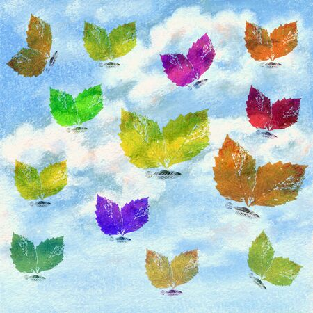 Butterflies from colorful leaves and blue sky with white clouds. Picture, pastel, hand-draw on paper Stock Photo - 11557756