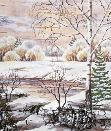 distemper: Picture, winter natural landscape. Hand draw, distemper on a birch bark