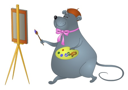 Illustration: thick the rat-artist draws a picture Stock Vector - 11655266