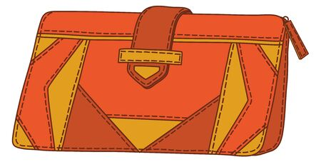 Red and yellow mens stylish leather wallet for money. Vector Vector