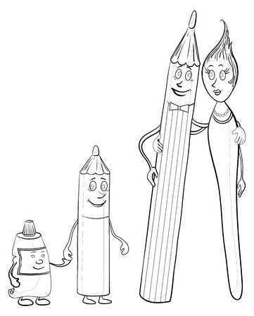 Cartoon, stationery family: pencils, brush, tube of paint, contours. Vector Vector