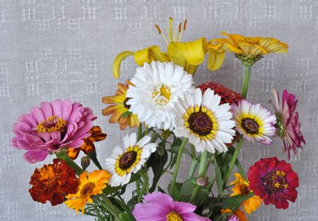 A bouquet of garden flowers on the background of an old linen canvas. August, the Central Russia Stock Photo - 11842152