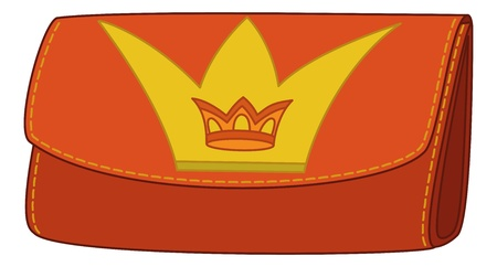 Red and yellow stylish leather wallet for money with crown emblem. Vector Vector