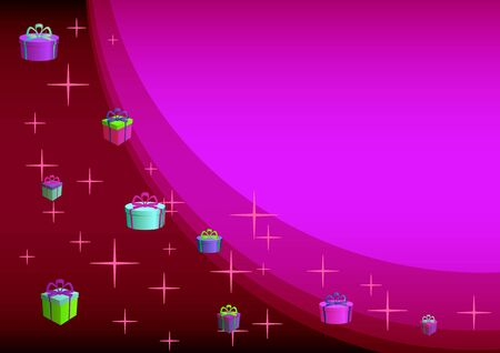 marvel: Abstract background: multi-coloured gift boxes and stars on a scarlet