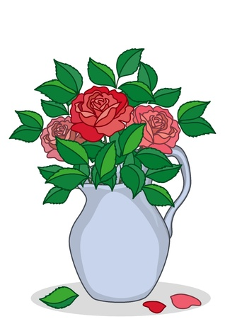 delftware: Jug of blue porcelain with three red and pink roses Illustration