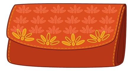 Red stylish leather wallet for money with a yellow floral pattern. Vector Vector