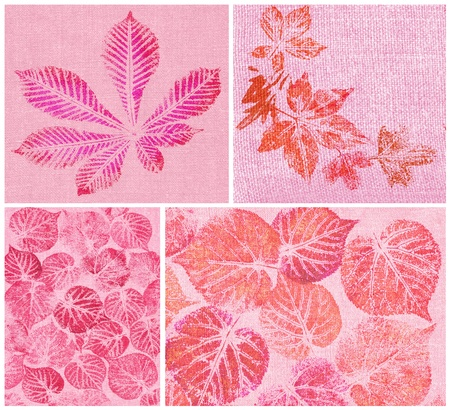 set abstract backgrounds, hand draw, pink and lilac leaves on canvas photo