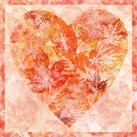 Valentine red heart from leaves, hand-draw, watercolour on a paper photo