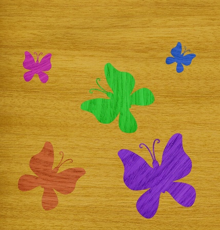 marquetry: Marqueter�a, mariposas de colores de chapa de madera de fresno contra el fondo de madera de olmo