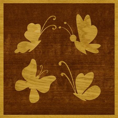 marqueteria: Marquetería, mariposas de chapa de madera de fresno contra el fondo de madera makore Foto de archivo