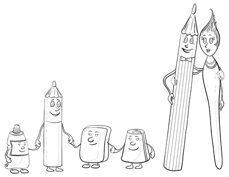 Cartoon, contours, stationery family: pencils, brush, tube, eraser and pencil sharpener. Vector Vector