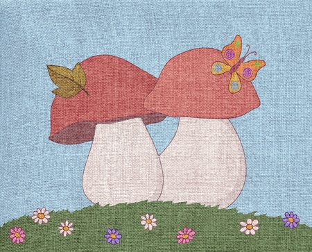 Drawing on the canvas: two mushrooms with a leaf and a butterfly in a meadow with flowers