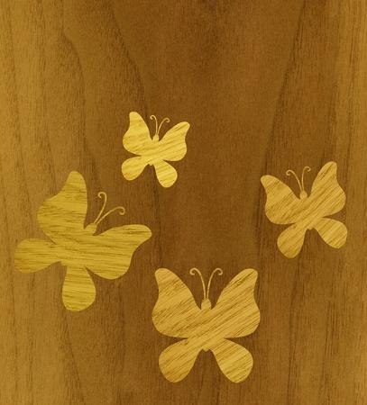 marquetry: Marqueter�a, mariposas de chapa de madera de fresno contra el fondo de madera de teca Foto de archivo