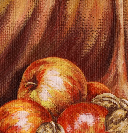 Picture, apples and nuts on the background of red cloth. Hand draw painting, oil paints on a canvas. Stock fotó