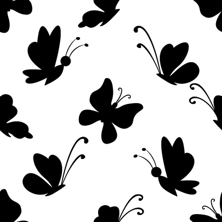 Seamless background, black silhouettes various butterflies on white.