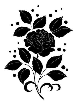 Bloem roos met bladeren en confetti. Zwarte silhouetten op een witte achtergrond.