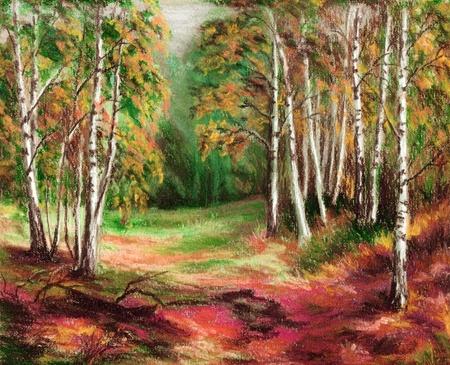Beeld, landschap, herfst bos. De hand trekt, het tekenen van een pastel op een kartonnen