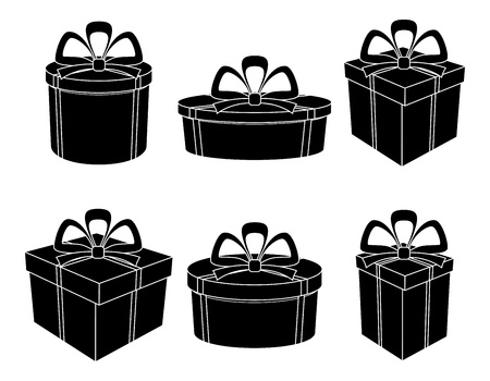 Set gift boxes different forms with bows, black silhouettes on white.