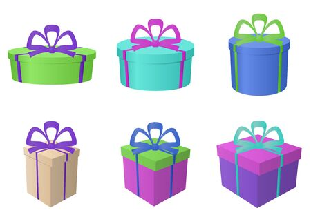 Set multi coloured gift boxes different forms with bows.  Vector