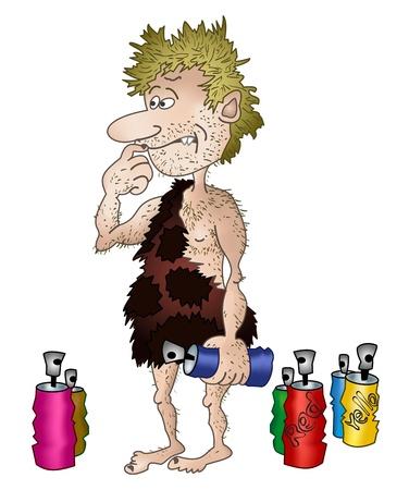 caveman: Artista prehist�rico en la piel de animal con aerosol en una mano. ilustraci�n