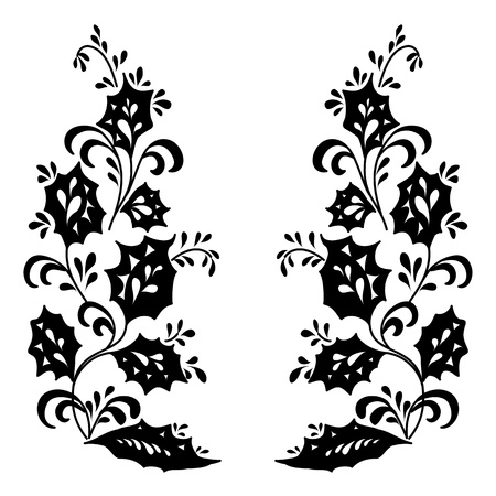 symbolical: Abstract floral background, symbolical flowers, black silhouette on white.