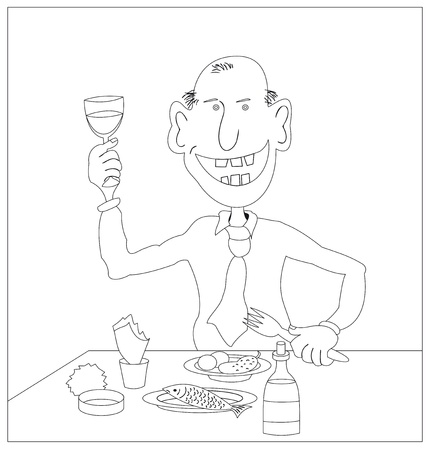Cheerful man lifts a toast, monochrome contours Vector