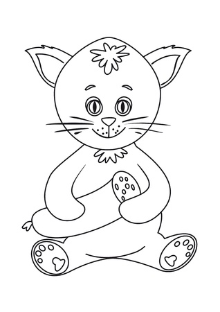 Cat toy smiling and holding sausage in his paws, contours Vector