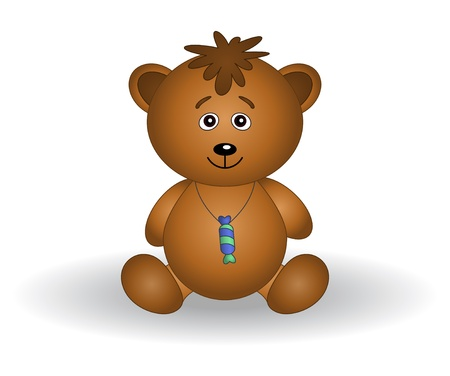 sweety: Toy teddy bear with a sweet on a neck.
