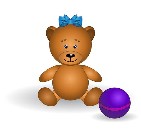 Toy teddy bear babe with a bow and a ball.  Vector